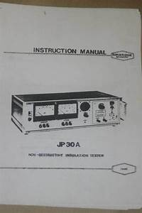 Danbridge Jp30a Insulation Tester Instruction Operating