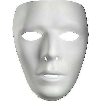blank male white costume face mask disguise
