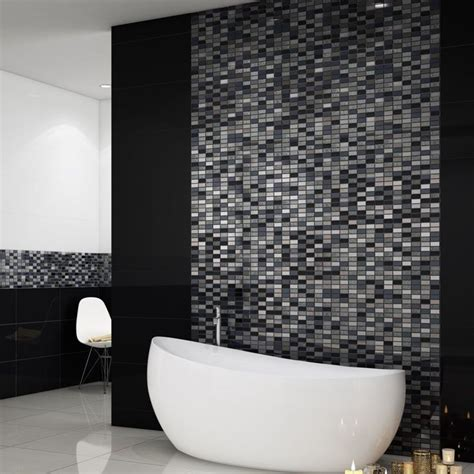 Mosaic Border Tiles Bathrooms by These Beautiful Silver And Black Mosaic Tiles Are Made