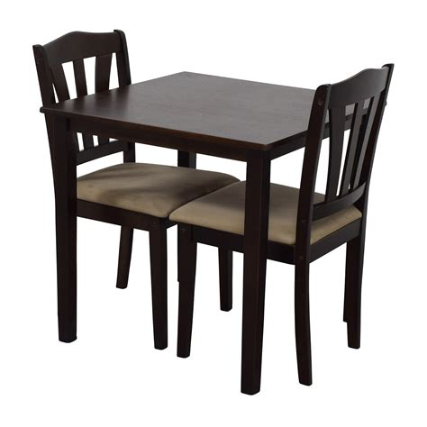 wood dining table with upholstered chairs 46 off wood dining table and beige upholstered chairs