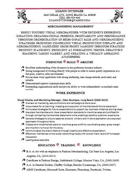 Visual Merchandising Description Resume by Resume Luann Ottinger
