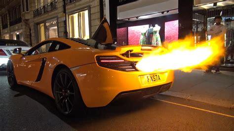 mclaren  shooting huge flames melted bumper youtube