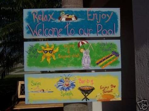 Tropical Whimsical Fun Triple Pool Wood Sign