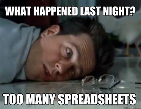 spreadsheet hangover