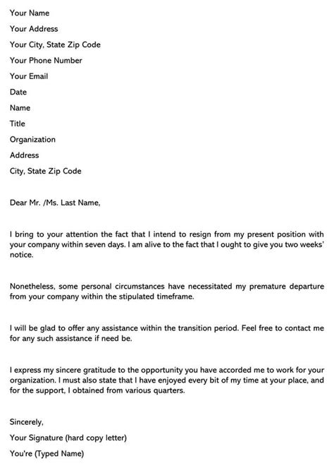 Short Simple Resignation Letter Sample For Your Needs | Letter Template Collection