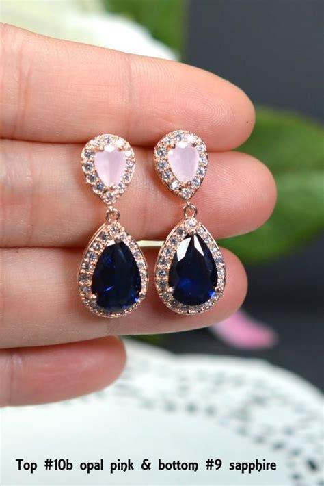 blush pink navy blue gold wedding jewelry bridesmaid gift bridesmaid jewelry bridal jewelry