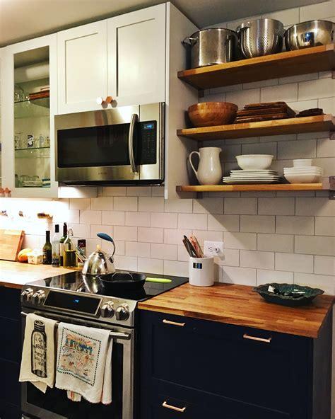 navy semihandmade cabinets ikea kitchen butcher block