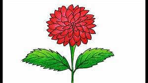 Dahlia Flower Drawing Very Easy And Simple  How To Draw