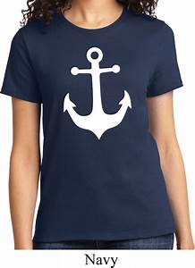 Regular T Shirt Size Chart Ladies Sailing Shirt White Anchor Tee T Shirt White