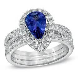 White Gold Pear-shaped Tanzanite And Diamond Bridal Set By Zales
