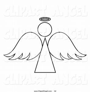 Illustration Vector of a Black and White Angel Outline ...