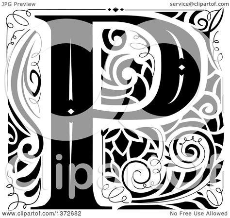 clipart   black  white vintage letter p monogram royalty  vector illustration  bnp