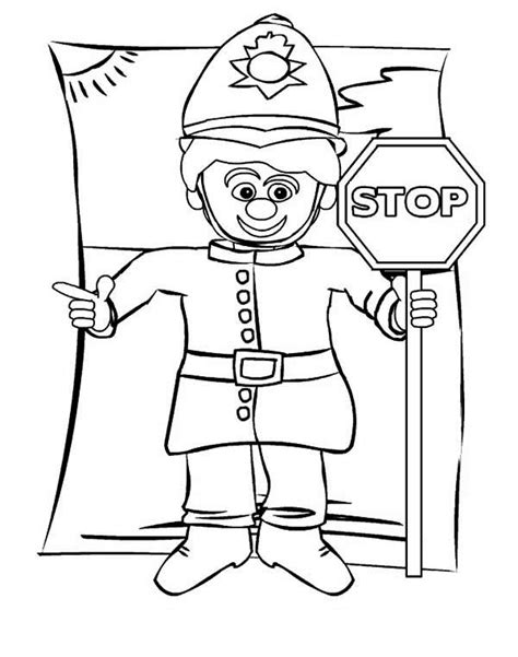 Traffic Warden Free Colouring Pages