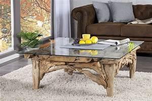 Table En Bois Design : table basse design en bois flott avec plateau en verre ~ Preciouscoupons.com Idées de Décoration