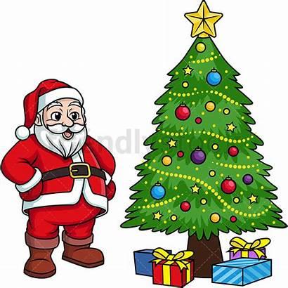 Santa Claus Tree Christmas Cartoon Clipart Decorated