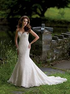Strapless Deep Sweetheart Lace Over Satin Mermaid Wedding ...