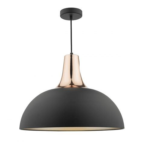 Dar Toronto Pendant Ceiling Light in Black and Copper