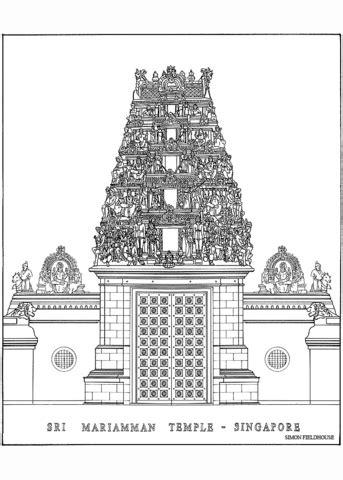 sri mariamman temple  singapore coloring page