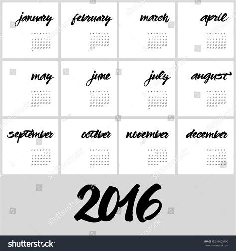 Calendar Month Template Hand by Calendar 2016 Template Hand Painted Names Of Months