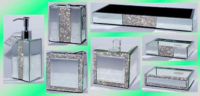 Mirrored Bathroom Accessories Sets by Mirrored Rhinestone Bathroom Accessories