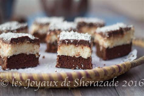 dessert noix de coco chocolat brownies noix de coco chocolat les joyaux de sherazade