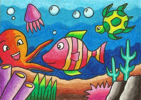 contoh gambar cara mewarnai ikan dengan crayon