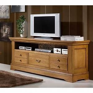 meuble tv rustique chene massif naturel benodet meubles elmo With meuble tv chene massif contemporain