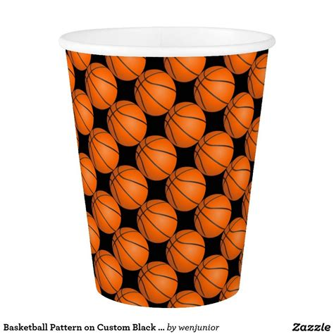 basketball pattern  custom black sport theme paper cup