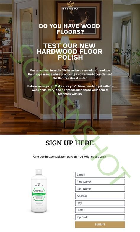 FREE bottle of Trinova Hardwood Floor Polish Premium Wood