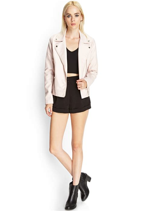 lyst forever 21 faux leather moto jacket in pink