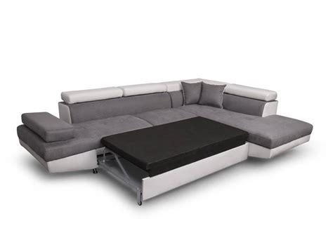 grand canapé d angle convertible canapé d 39 angle droit convertible avec coffre blanc gris