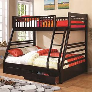 Bunks, Twin, Over, Full, Bunk, Bed, With, 2, Drawers, And, Attached, Ladder