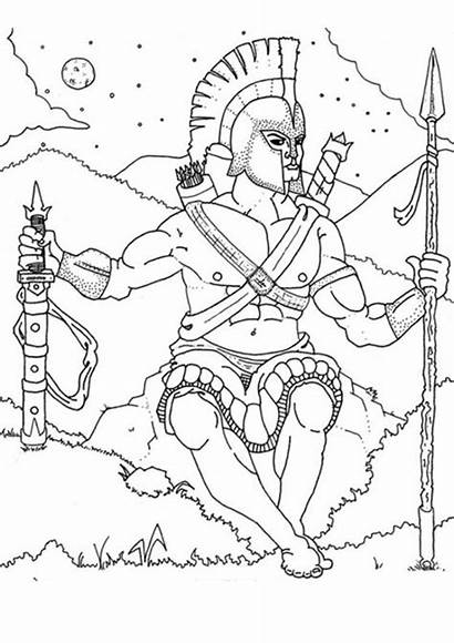 Coloring Pages Greek God Gods Ares Ancient