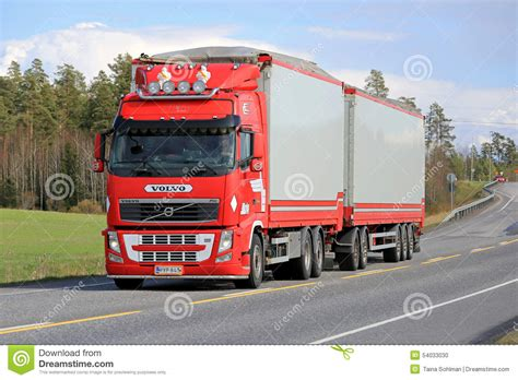 volvo highway red volvo fh full trailer truck on the road editorial