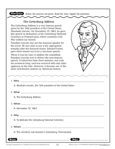 story questions worksheets reading comprehension