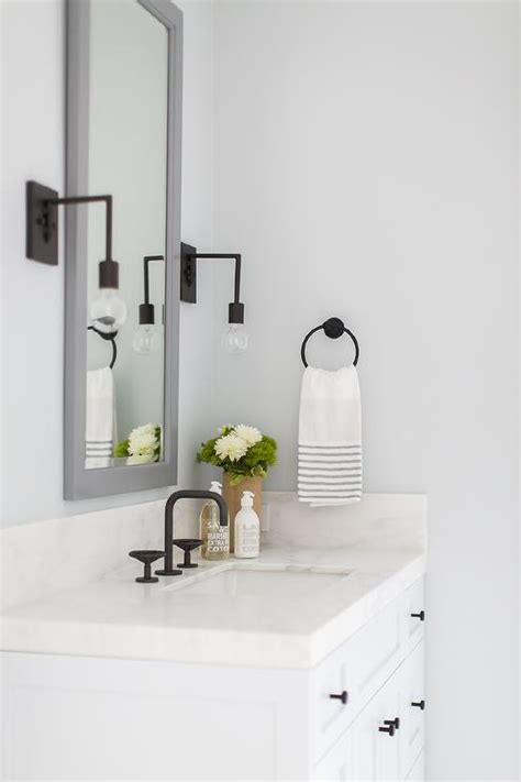 Tall Gray Mirror with White Sink Vanity - Transitional