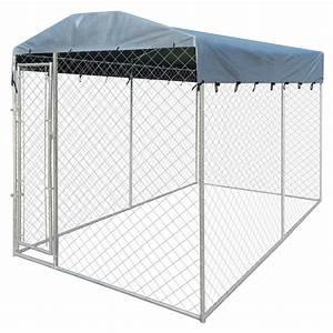vidaxlcouk heavy duty outdoor dog kennel with canopy With outdoor dog kennel with top
