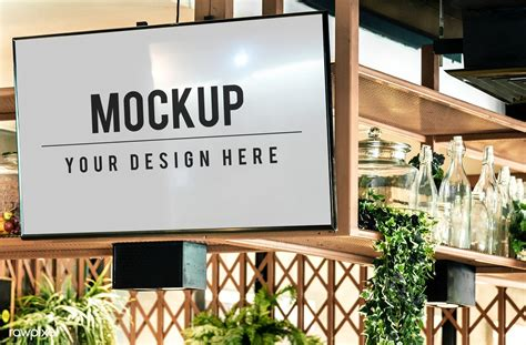 Do you need some special templates for your business? Download premium psd of TV screen mockup in a restaurant ...