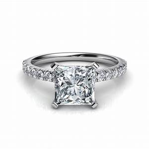 french cut pave engagement ring With princess style wedding rings