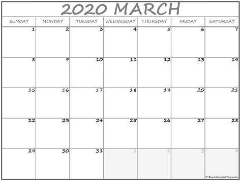march  calendar  printable monthly calendars