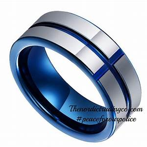 tungsten carbide band thin blue line cross inlay police With police wedding rings