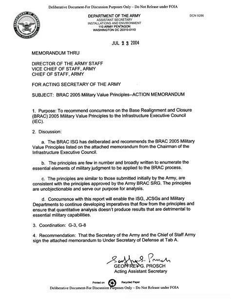 department of the army memorandum for record template memorandum for the acting of the army brac 2005 value principles
