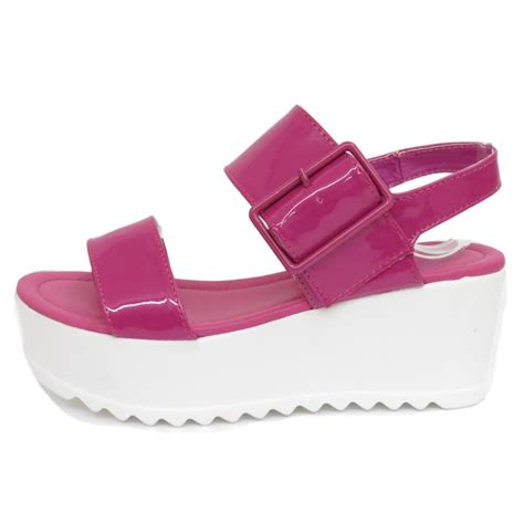 dolcis pink flat form platform chunky sandals wedge