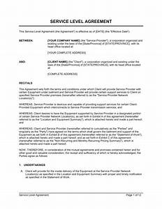 service level agreement template sample form biztreecom With service provider agreement template free