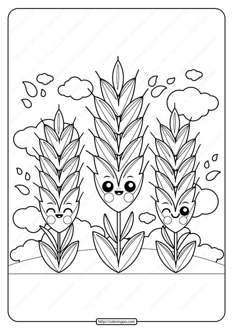 printable cute wheat  coloring page