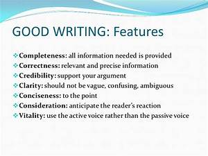Features good report writing