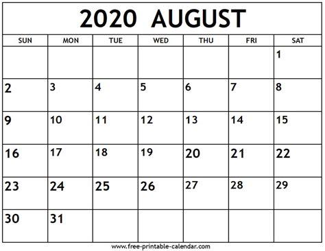 august  calendar  printable calendarcom