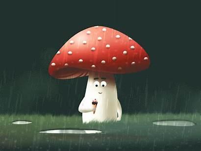 Mushroom Cool Animation Dribbble Character Eating Drop