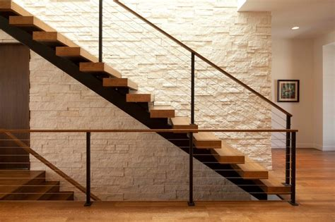 living room small and wooden staircases brick wall design linden contemporary modern staircase