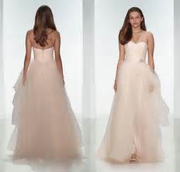 blush bridesmaid dresses 2015 light pink tulle wedding dresses sweetheart blush a line floor length zipper